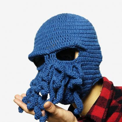 Crochet Octopus Hat : Knitting Octopus Hat Crochet Novelty Handmade Wool Funny Beard Octopus ...